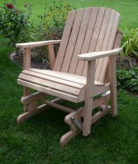 wodden yard glider chair | Amish Oak Barrel Glider Chair ...
