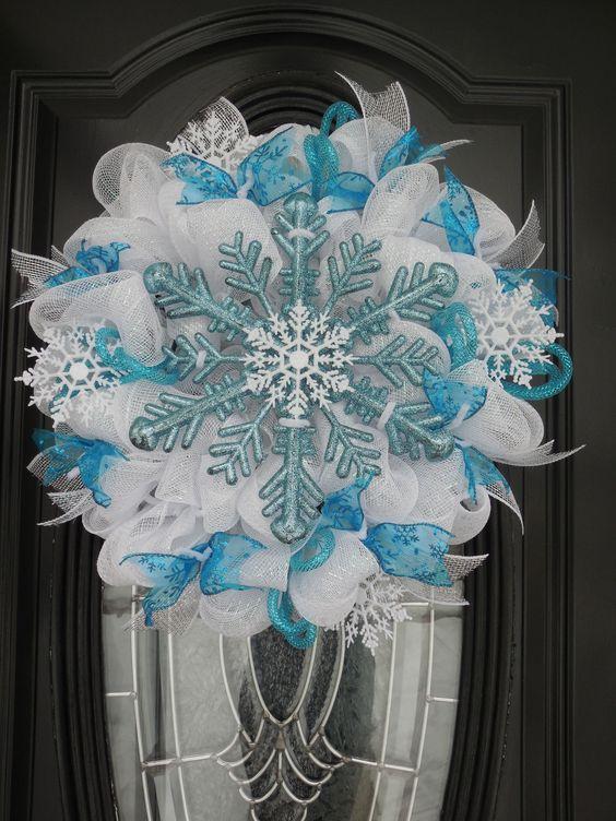 Ice Blue Amp White Deco Mesh Winter Wreath For Christmas