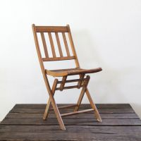 Vintage wood folding chair, camp chair, slat wood chair ...
