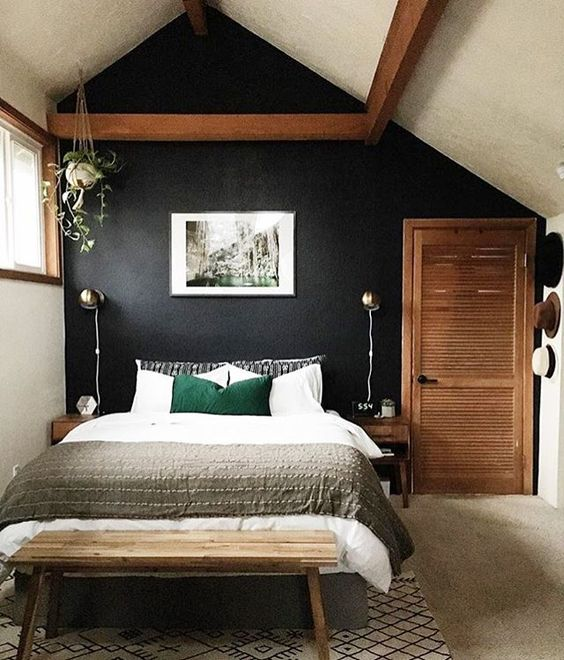 This bedroom, seen on the #simplystyleyourspace feed, is life!! Amazing job @brittanysharday. From the paint color, to the art piece...it's all good: