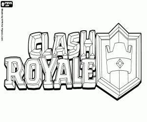 desenho de Logo do Clash Royale, videogame para colorir