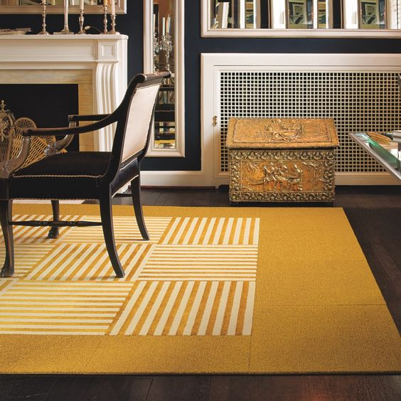 Flooring Fixes Yellow Striped Floor Carpet Squares in Black and White Room with Fireplace