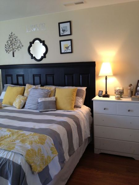yellow and grey master bedroom Grey and yellow master bedroom!- I actually like the