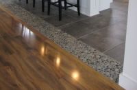 Dark Ocean pebble accent tile used as transition from tile ...