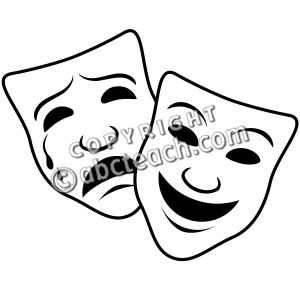 Clip Art: Comedy and Tragedy Masks 1 (coloring page