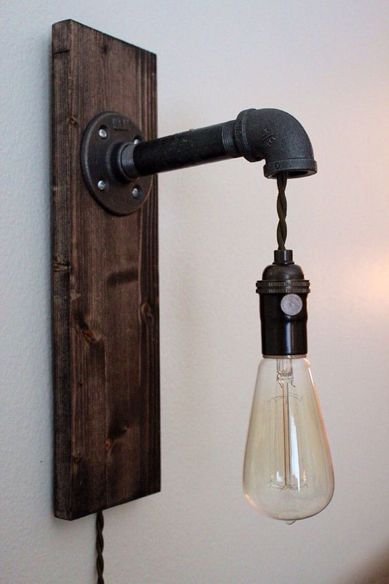 Rustic Pipe Sconce by RuggedNorthCo on Etsy, $85.00