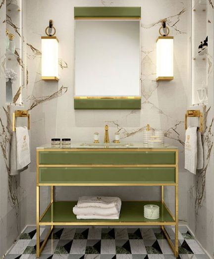 Pantone Greenery in bathroom
