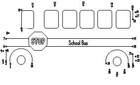 School Bus Dot to Dot Page. Can choose from 1-30 or 1-17