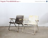 Mid century lawn chair pair, 1950s metal folding chairs ...