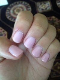 Natural nail acrylic overlay with essie guchi muchi puchi ...