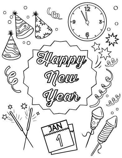 Happy new year, New Year's and Coloring on Pinterest