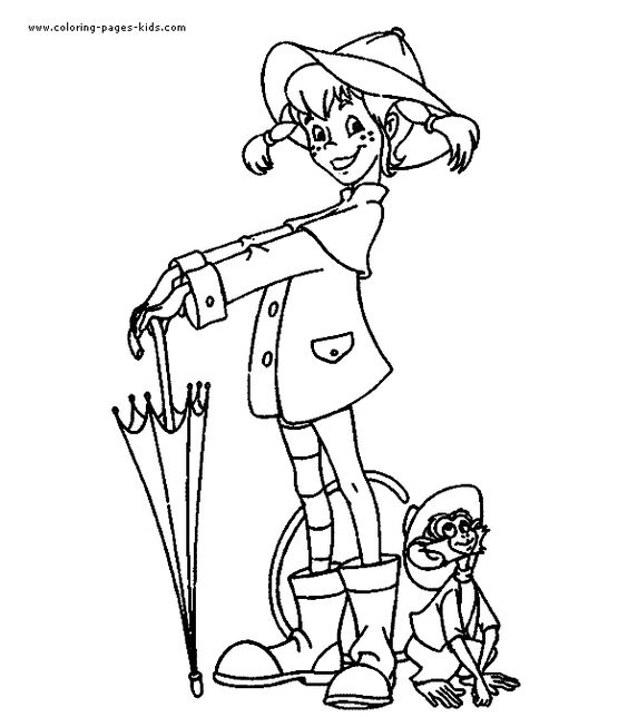 Pippi Longstocking color page cartoon characters coloring