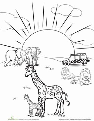 Kindergarten Animals Worksheets: Safari Coloring Page