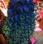 weave hairstyles ombre blue green