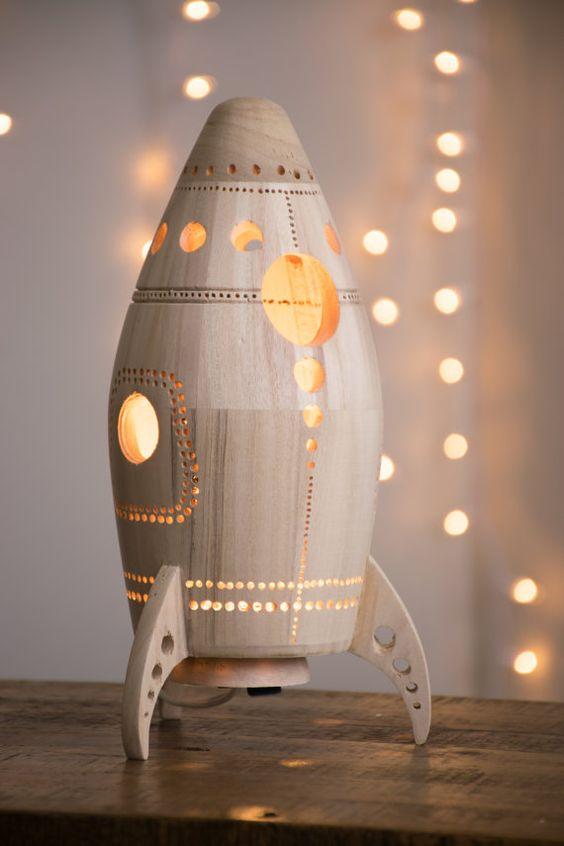 Wooden Rocket Ship Night Light