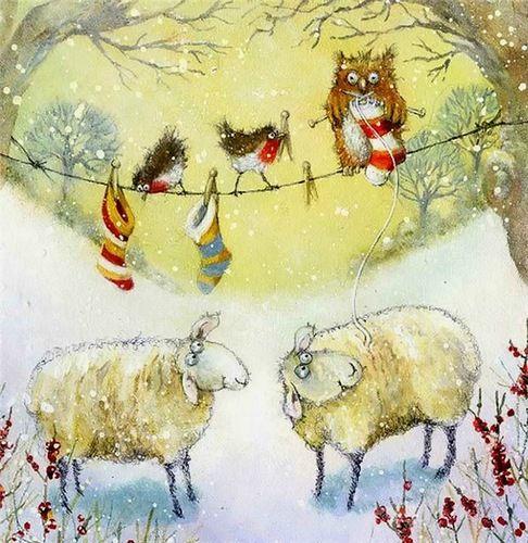 Jan Pashley Watercolor Owl Knitting Art