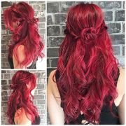 """red rose"" brilliant cool red hair"