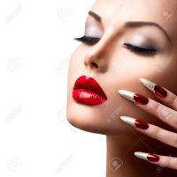 27472375-Fashion-Beauty-Model-Girl-Manicure-and-Make-up ...