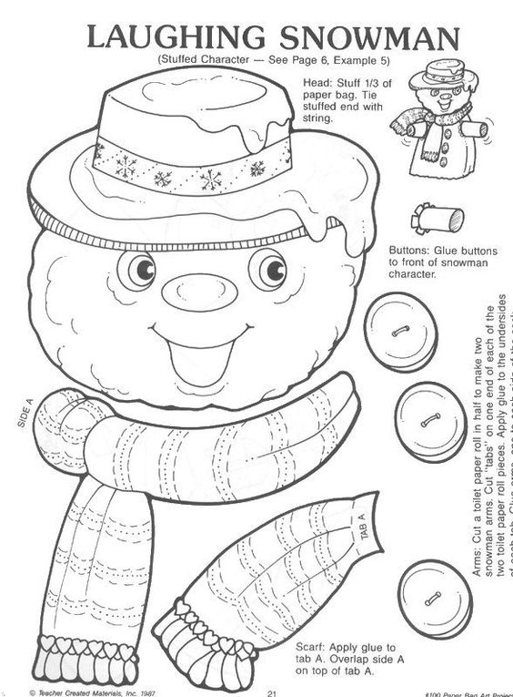 Paper bag crafts, Paper bags and Snowman on Pinterest