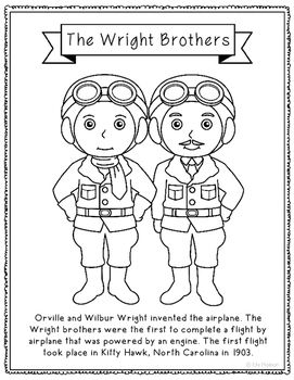 The Wright Brothers Coloring Page Activity or Poster with