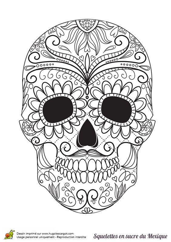 Coloriage squelette sucre moustache et fleurs sur