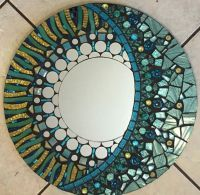 Aqua and pale gold Glitter Glass Mosaic Mirror by ...