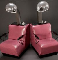 Retro salon dryer chairs in pink. I had one similar to ...