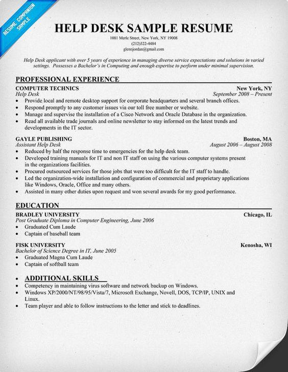 Help Desk Resume Resumecompanion Com Resume Samples