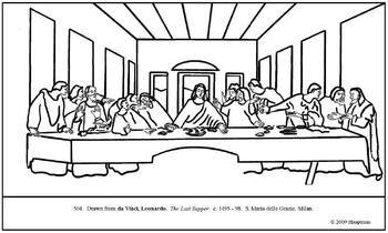 da Vinci. The Last Supper. Coloring page and lesson plan
