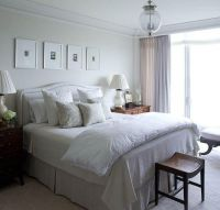 Soft tranquil bedroom design with off-white gray headboard ...
