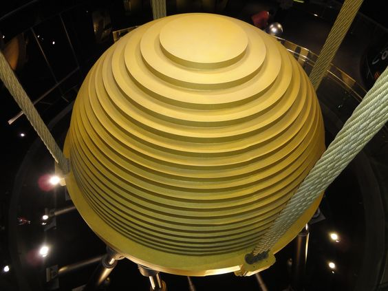 Look down at the tuned mass damper from the 89th floor of Taipei 101