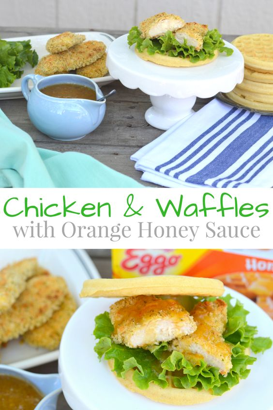 Chicken and Waffles with Orange Honey Sauce; a sweet and savory southern comfort food #LeggoMyEggo #HearTheNews #ad | mybigfathappylife.com: