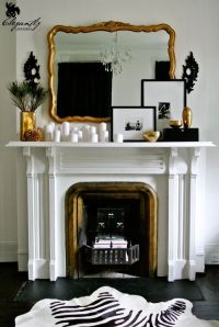 gold mirror, fireplace, mantel, white candles, framed ...