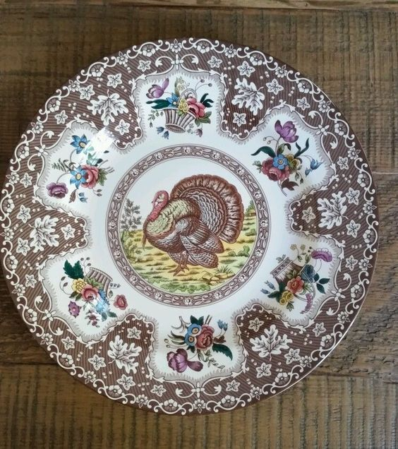 Set of 12 New/Never Used Spode Thanksgiving Plates