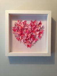 3D Framed Pink Butterfly Love Heart Box Framed Wall Art ...