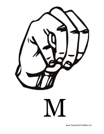 Diagram of a hand signing the letter M along with the