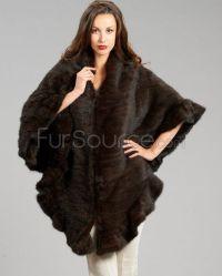 Knitted Wrap / Shawl - Mahogany Mink Fur | Fur Shawls ...