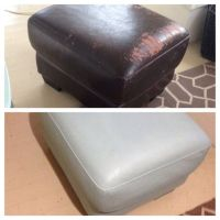 Annie Sloan chalk paint on a peeling faux leather ottoman ...