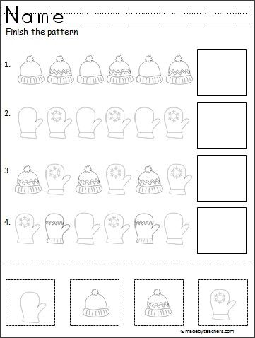 Free cut and paste pattern activity for winter. Great for