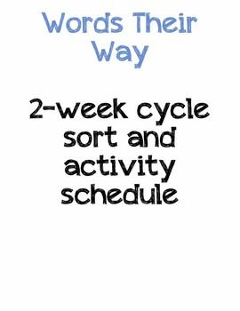 Work on Words )Daily 5) ~ 2 week cycle schedule of sorts