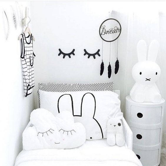 Black, white and lots of bunnies! What a cute monochrome kids room.: