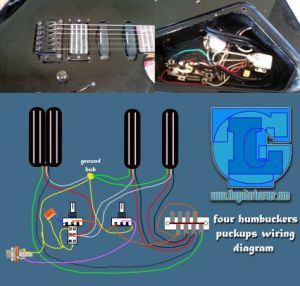 four humbuckers pickup wiring diagram – all hotrails and