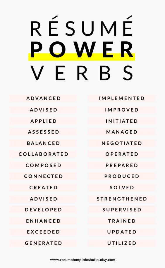 great words to use in a resumes