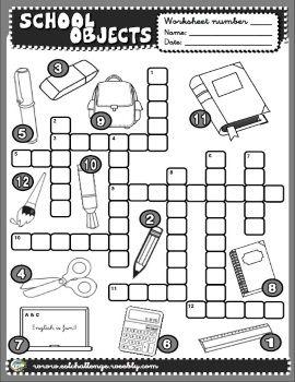SCHOOL OBJECTS CROSSWORD http://eslchallenge.weebly.com