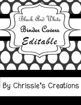 Binder covers that are editable, black and white classy