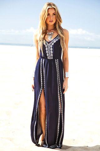 Navy boho chic max dress: