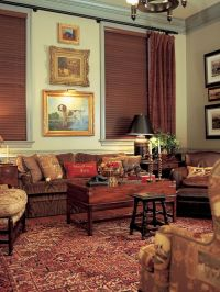 Warm tones of brown create a cozy living room with a ...