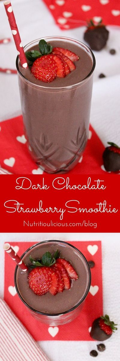 Dark Chocolate Strawberry Smoothie Recipe via Nutritioulicious - Dark chocolate, creamy greek yogurt, and sweet strawberries are the perfect combination in this frosty heart healthy Valentine's Day Dark Chocolate Strawberry Smoothie