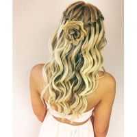 waterfall braid curls and rose braid