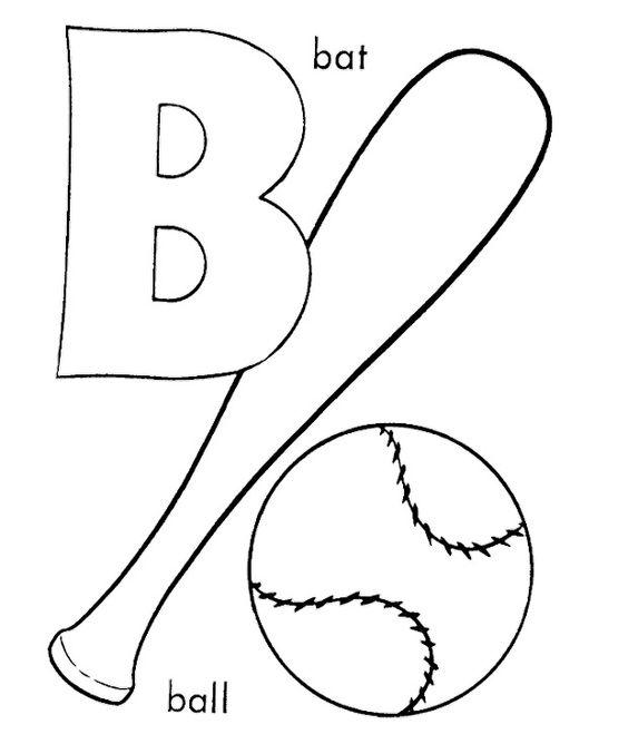B For Baseball Coloring Pages #baseball #coloring #
